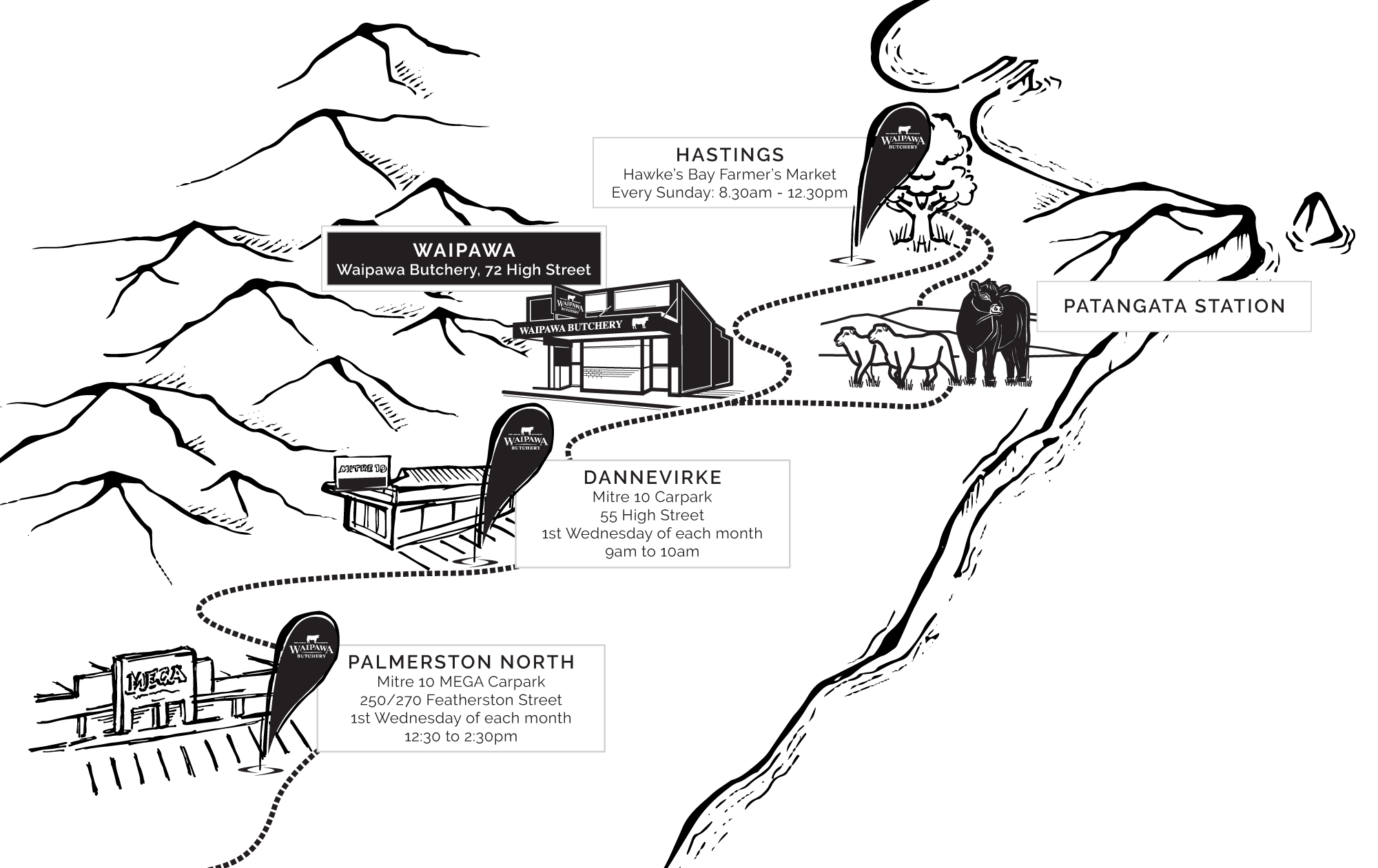 waipawa butchery pop up location map